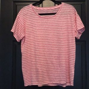 J.Crew short sleeve Pink & white striped top.